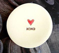 Keramische Ring Schaaltje met Rood Hart XOXO van Ceraminic op Etsy