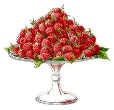 Vintage Graphics - Raspberries on a Pedestal - The Graphics Fairy