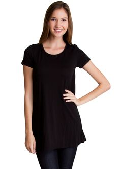 Short Sleeve Tunic Trapeze Top T4474B, clothing, clothes, womens clothing, jeans, tops, womens dress