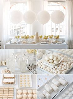 White dessert table / balloons - wedding dessert tables and images by amy atlas events, white wedding bridal shower brunch White Bridal Shower, Elegant Bridal Shower, Bridal Shower Party, Bridal Shower Decorations, Balloon Decorations, White Party Decorations, Balloon Backdrop, White Shower, Table Decorations