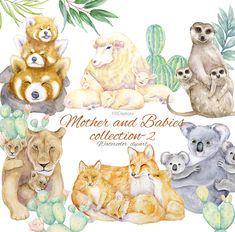 Mother and Baby Animal Collection-2, Mother's Day, Mom  Me, Watercolor Koala, Mommy and Cub Lion, Red Fox, Meerkat, Red Panda, Sheep, Lamb Mother And Baby Animals, Forest Friends, Red Panda, Red Fox, Cute Images, Cubs, Sheep, Giraffe, Lamb
