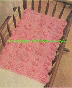 Pink crochet pram blanket vintage baby crochet by Ellisadine, £1.15