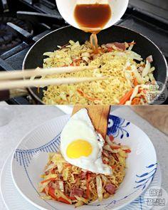그릇까지 싹싹 핥는다는 '마약 라면 요리' 레시피 6가지 Menu Recipe, Food Menu, Recipe Collection, Yummy Food, Cooking, Breakfast, Ethnic Recipes, Kitchen, Morning Coffee