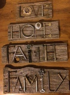 """""""Love"""", """"Hope"""", """"Faith"""" and """"Family"""" junk characters / Metal Art Projects, Metal Crafts, Wood Crafts, Craft Projects, Key Crafts, Crafts To Make, Arts And Crafts, Metal Yard Art, Scrap Metal Art"""