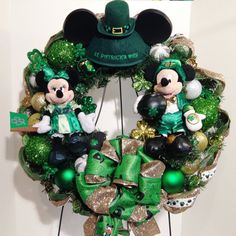 St. Patricks Day Wreath Disney Mickey and Minnie