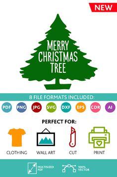 Merry Christmas Tree SVG Cut Files Wall Art Quote Printable Art Decor room Art Printable Poster digital (Svg Dxf Cdr Eps Ai Jpg Pdf Png)