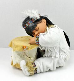 Native American Indian Girl Baby Child Sleeping on Drum Porcelain Doll