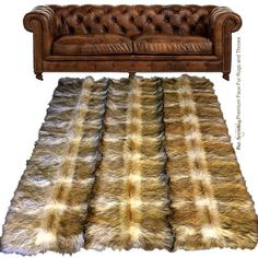Golden Brown Coyote Stripe Pieced Fur Shag Faux Fur Area Rug Plush... (