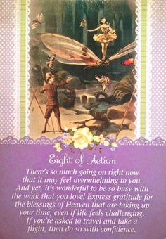 Eight Of Action, from the Guardian Angel Tarot Card deck, by Doreen Virtue Ph.D and Radleigh Valentine