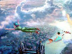 Kinkade Disney Tinker Bell and Peter Pan Fly to Neverland Classic Edition Thomas Kinkade Art, Thomas Kinkade Disney, Storybook Nursery, Kinkade Paintings, Thomas Kincaid, Disney Puzzles, Art Thomas, Peter Pan Disney, Artist Sketchbook