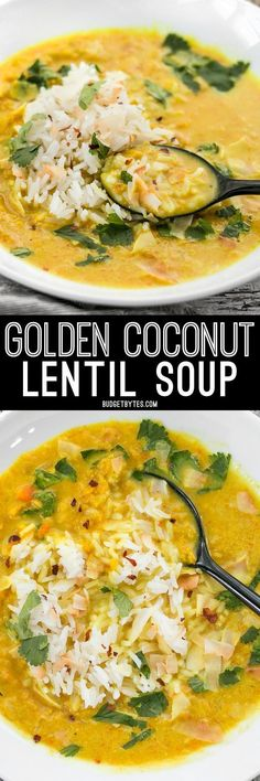 Coconut Lentil Soup - Vegan - Budget Bytes Golden Coconut Lentil Soup is a light and fresh bowl with vibrant turmeric and a handful of fun toppings.Golden Coconut Lentil Soup is a light and fresh bowl with vibrant turmeric and a handful of fun toppings. Coconut Lentil Soup, Vegan Lentil Soup, Vegan Soups, Vegetarian Recipes, Healthy Recipes, Delicious Recipes, Tasty Recipe, Lentil Dishes, Lentil Stew