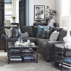 gray and blue living room ideas colorful furniture sets a paint schemes pinterest very much in love w this l shaped couch stylish cozy economic quality