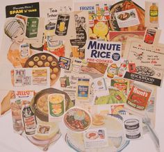 Vintage Magazine clippings of Food Products from the 1940's to 1960's Ephemera Collage Pack
