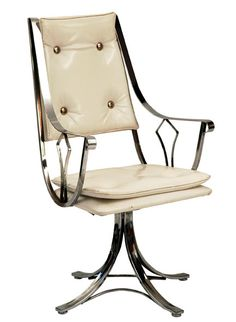 White Leather/ Aluminum Chair