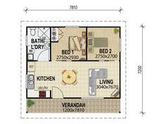 House Plans Queensland granny flat plans ~500ft2