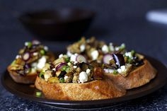Eggplant Scallion & Feta bruschetta
