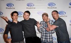 Dylan O'Brien, Will Poulter, James Dashner, and Wes Ball at The Maze Runner panel for Wondercon