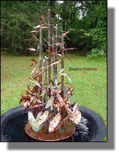 Copper bamboo water garden fountain