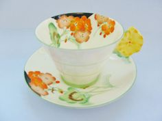 Royal Paragon Cup And Saucer, Vintage Art Deco Flower Handled, Light Yellow With Orange And Yellow Flowers, Green Trim, Black Accents Vintage Cups, Vintage China, Vintage Art, Glass Coffee Cups, China Art, Art Deco Period, Pastel Yellow, Orange Flowers, Tree Branches