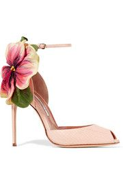 Brian Atwood Floral-appliquéd ayers sandals