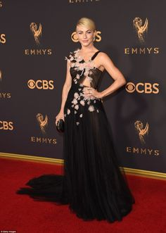 Flower power! Julianne Hough wowed in a delicately embellished gown as she arrived for the Emmys on Sunday