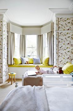 Birds are a recurring theme in daughter Ella's bedroom, and they keep popping up in different forms throughout the house as well Bay Window Bedroom, Bird Bedroom, Bay Window Curtains, Dream Bedroom, Window Seats, Teenage Girl Bedrooms, Big Girl Rooms, Teenage Room, Teen Bedroom Designs