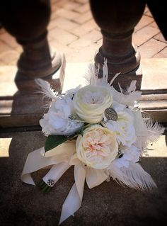 Vintage Elegance Silk Bridal Bouquet in Shades of Blush, Ivory & White - Ostrich Feathers, Garden Roses, Peonies, Rhinestone Brooch Accents