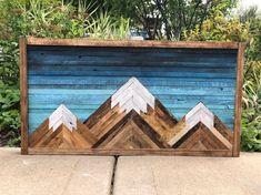 Mountain Wood Wall Art Reclaimed Wood Wall Decor with Wood Wall Art Decor, Reclaimed Wood Wall Art, Rustic Wood Walls, Wall Wood, Diy Wood Projects, Woodworking Projects, Woodworking Store, Fine Woodworking, Decoration