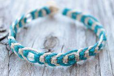 Turquoise and White Beaded Hemp Bracelet by HempyEnding on Etsy, $6.50