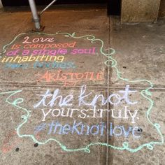 The outside of our store was blessed by sidewalk chalk artist @honchar.  Spreading the  throughout #nyc. #theknotlove #lovequote #quote #love @theknot