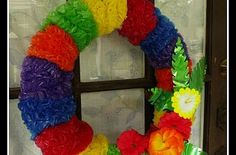 Hometalk :: Tape up a pool noodle into a circle for an inexpensive foam wreath. Th…