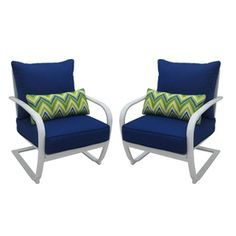 Garden Treasures Set of 2 Bluestone River Gloss White Steel Patio Chairs with Solid Blue Cushions
