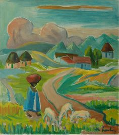 SA Masters / Laubser, Maggie / Landscape with figure and sheep - SOLD Easy Art, Simple Art, South African Art, Still Life, Sheep, Contemporary Art, Paintings, Artists, Fine Art