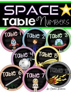 Table number signs to help manage, organize, and decorate your space-themed classroom!