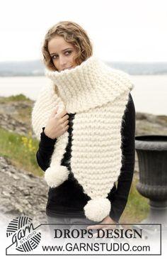 "DROPS scarf in garter st with pompoms in 2 threads ""Eskimo"" and 1 thread ""Vienna"". Yarn alternative 1 thread ""Polaris"". ~ DROPS Design"