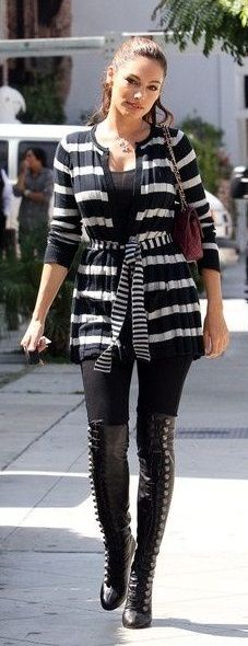 Long sweaters, leggings and black thigh high boots