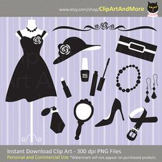 14 dress and fashion accessories clipart plus 1 background / digital paper. Please keep in mind that certain parts of these silhouette clipart are in white (as seen in photo). If you plan to use them on white background they will not work, unless you have a way of changing the white color. This is INSTANT DIGITAL DOWNLOAD product.  Set includes 15 files of: - belt - decorative ornament - woman dress on mannequin - woman dress only - earrings - hat - lipstick - mascara - mirror - nail pol...