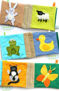 Quiet Soft Fabric Educational Taggie Crinkle Baby Book by PaffToys