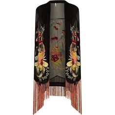 TOPSHOP | Black Floral Embroidered Kimono | Lyst via Polyvore featuring intimates, robes, topshop kimono, kimono robe and topshop
