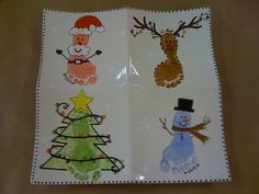 Christmas idea to do on coasters. Footprint for the youngest and handprint for the oldest. Love!!