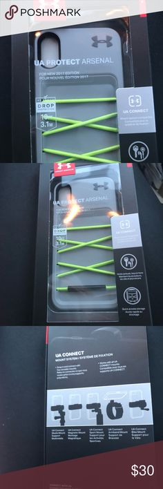 Under Armour UA Protect Arsenal brand new!!! UA Connect Case & mounting system  Perfect for the IPhone 7&8 Snap and connect with five versatile mounts  Works with all UA connect mounts  Holds earbuds, keys and much more!   Color: lime green & gray Brand new, never used still in original box!!! Under Armour Accessories Phone Cases