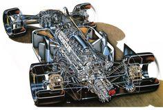 Williams FW11B Honda RA167 Formula One Car :: Yoshihiro Inomoto Yoshihiro Inomoto – considered by many as the world's best car cutaway illustrator. No arguments here.