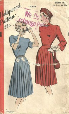 Vintage Forties Sewing Pattern from Hollywood by studioGpatterns, $10.50
