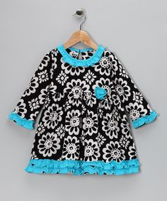 Take a look at this Calico Monkey Black Flower Ruffle Dress - Toddler & Girls by Calico Monkey on #zulily today!