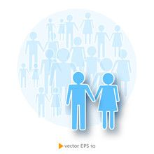 Crowd male and female icons demographic vector illustration