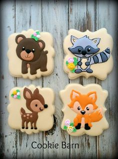 Woodland Decorated Cookies Forest Animal Decorated by CookieBarn Royal Icing Decorations, Dessert Decoration, Royal Icing Cookies, Cupcake Cookies, Woodland Cake, Woodland Forest, Cookie Images, Cupcakes For Boys, Bear Cookies