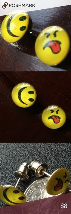 2 TWO PAIRS  face (smile -& tongue) earrings new Two different face emojis- 2 pairs earrings.emotions happy face and grumpy  face sticking out tongue -- now you can warn everybody about your mood !! Makes a perfect gift. Price is firm, unless bundled. Jewelry Earrings