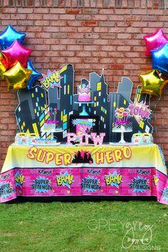 Girly Superhero Party by GreyGrey Designs #superheroparty #superhero