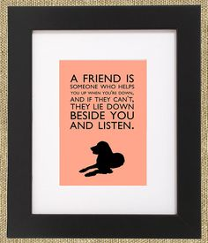 Dog Quotes Framed Golden Retriever Print A friend is by ShopBee