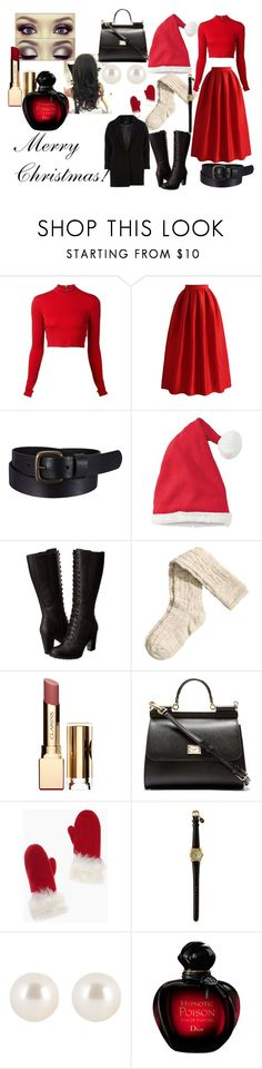 """Merry Christmas!"" by queenfangirl ❤ liked on Polyvore featuring Alice + Olivia, Chicwish, Uniqlo, Hanna Andersson, Timberland, H&M, Clarins, Dolce&Gabbana, Kate Spade and Henri Bendel"